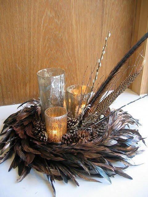 Pheasant Feather Floral Arrangements | Sur le table ...