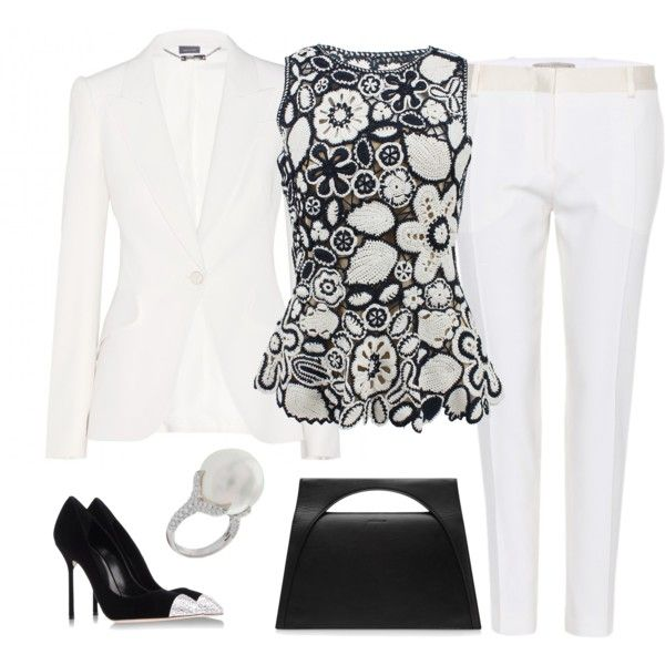 A fashion look from June 2014 featuring navy peplum top, white blazer and white pants. Browse and shop related looks.