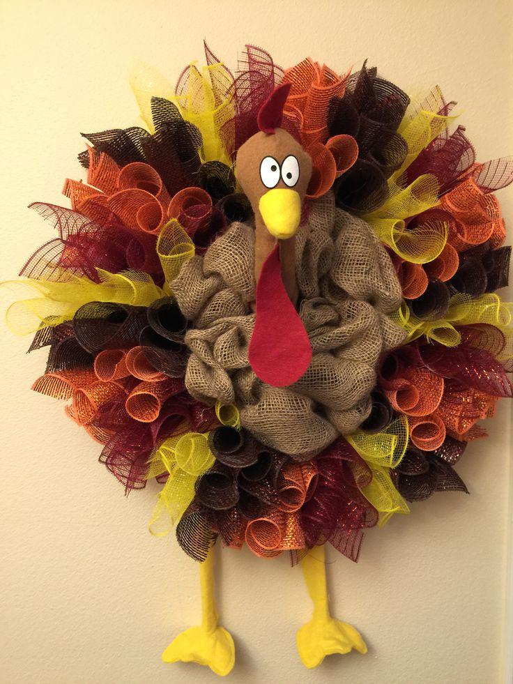 Sil's turkey mesh & burlap wreath