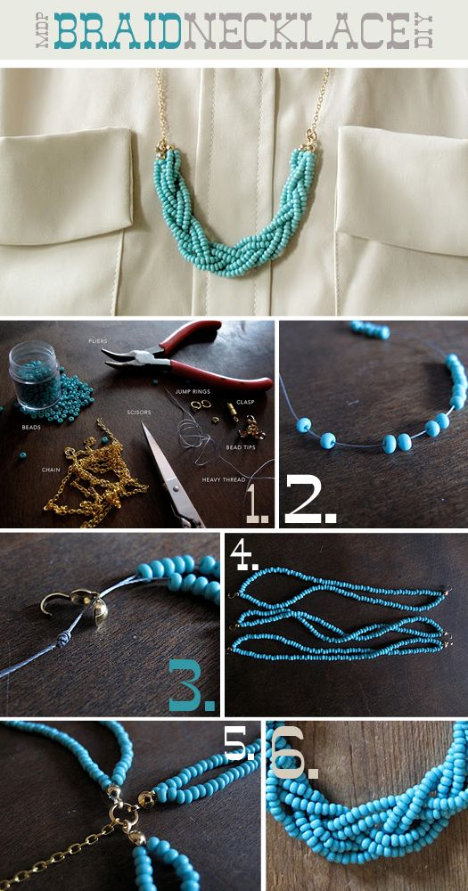 braided necklace #tuto #howto: Braids Beads, Diy Necklaces, Beads Necklaces, Seeds Beads, Diy Braids, Diy Jewelry, Turquoise Necklace, Braided Necklace, Braids Necklaces