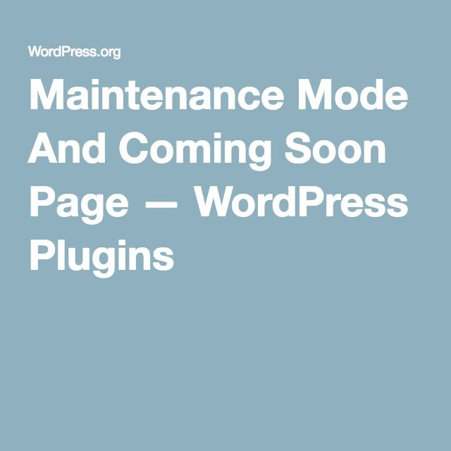 Maintenance Mode And Coming Soon Page — WordPress Plugins