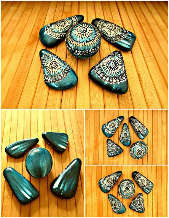 Mandala stones mandala art boho decor dorm boho turquoise