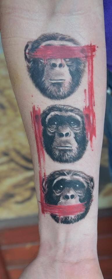 Monkey tattoos. See, hear and speak no evil.