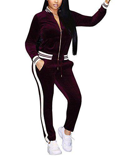 c50066eb7b97 EastLife Womens Two Piece Outfits Long Sleeve Zipper Jacket and Pants  Sweatsuit Tracksuit