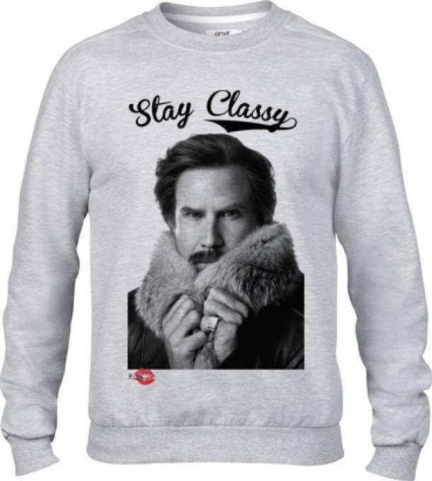Stay Classy, Ron Burgundy/Will Ferrell sweatshirt £32 from Kiss Clothing
