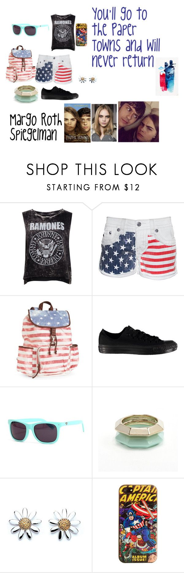 """""""Margo Roth Spiegelman outfit"""" by allie-peay ❤ liked on Polyvore featuring Pull&Bear, Aéropostale, Converse, Diamond Supply Co., Daisy Jewellery and Marvel Comics"""