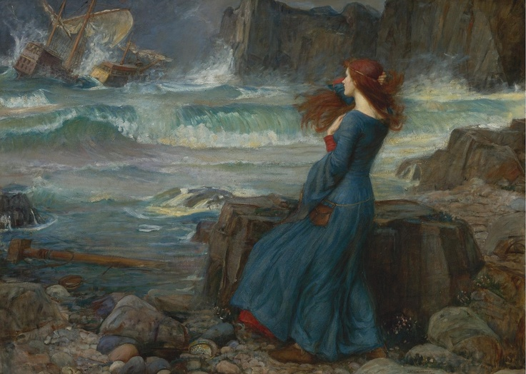 "arsvitaest:  ""Miranda — The Tempest""  John William Waterhouse (English, 1849-1917), 1916.  Oil on canvas  ""You don't like my 'restless' doctrines—I should be very sorry if you did—but I can't stagnate nevertheless—if I must sail let it be on the ocean no matter how stormy—anything but a dull cruise on a level lake without ever losing sight of the same insipid shores by which it is surrounded.""  — Lord Byron, letter to Annabella Milbanke, Sept. 26, 1813"