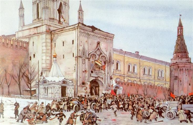 Before entering into Kremlin. Nikolsky Gate 2 (15) November 1917, 1926 by Konstantin Yuon. Socialist Realism. history painting