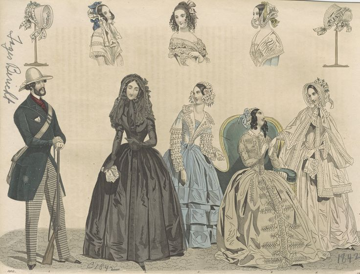 [Fashion plate], 1842. 1842. Metropolitan Museum of Art (New York, N.Y.). Irene Lewisohn Costume Reference Library. Death Becomes Her Costume Institute. #mourning