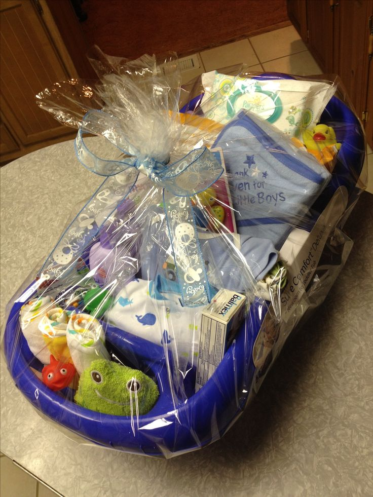 Baby boy bathtub gift basket