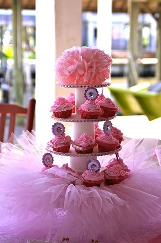 I'm still trying to decide, but I think I like the tutu at the base of this cupcake stand!