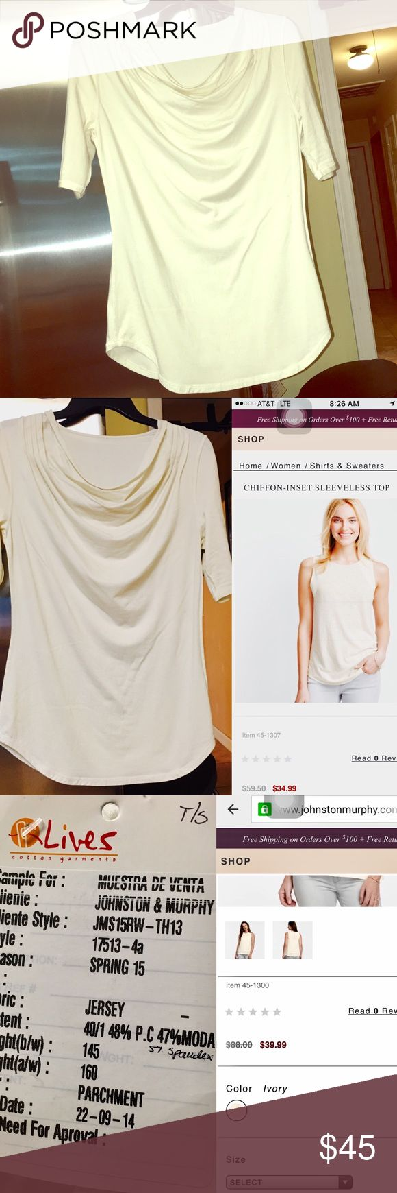 🔅*NWT* -J&M- SAMPLE TOP🔅W/FREE GIFTS!😍🎁👏🏼💓 🔅BRAND NEW & NEVER WORN🔅JOHNSTON & MURPHY SAMPLE TOP DUE IN STORES THIS SPRING🔅Get ur hands on this *BRAND NEW* J&M Ivory top NOW before its sold out in stores! U can see from the pics above these super sleek & fashionable tops from J&M do NOT run cheap once they are first placed for sale online & in retail stores- BUT HERE pay not even HALF the cost AND get a TON OF CUTE NEW FREE GIFTS🔅BUNDLE W/ ONLY 2 ITEMS & GET AN ADDITIONAL 15% OFF…
