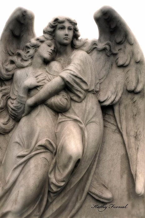 Romantic Angel Art-guardian Angels Embrace Print By Kathy Fornal