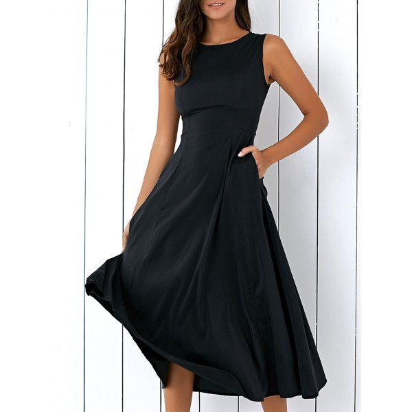 Casual Round Neck Sleeveless Loose Fitting Midi Dress For Women In Black | Twinkledeals.com