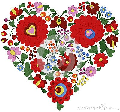 Heart made from traditional Hungarian embroidery pattern