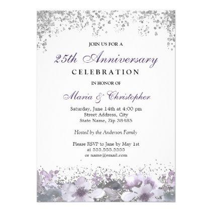 Silver Glitter 50th Wedding Anniversary Invite Wedding Invitations