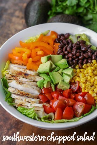 Simple and delicious Southwest Chopped Salad filled with chicken, peppers, beans, corn, tomatoes, avocado and topped with a homemade cilantro ranch dressing.