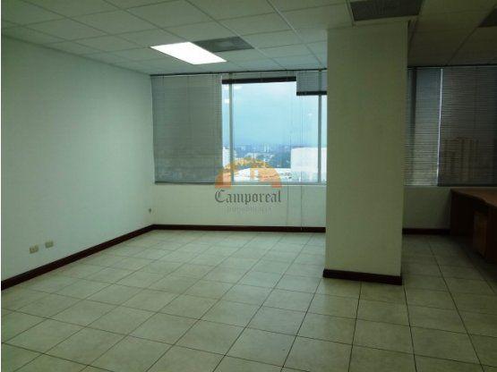 Área: 156.34 m2    Cuenta con 2 entradas  Recepción  Lobby  Oficina ejecutiva  2 áreas amplias de trabajo  2 baños  Cocineta  2 parqueos  Vista a la ciudad  Red de teléfonos  Red de cable  Elevadores  Precio de Renta: $ 2,500 mantenimiento e IVA incluido  Precio de Venta: $ 275,000 dólares