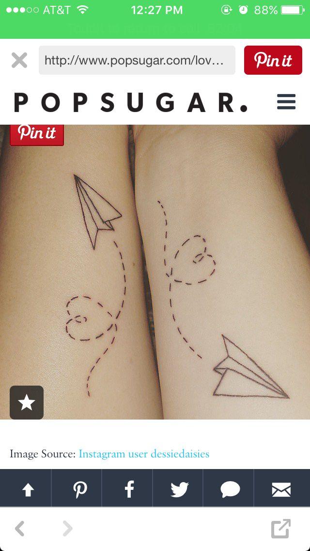 Cute paper airplane couple or best friend tattoo idea ...