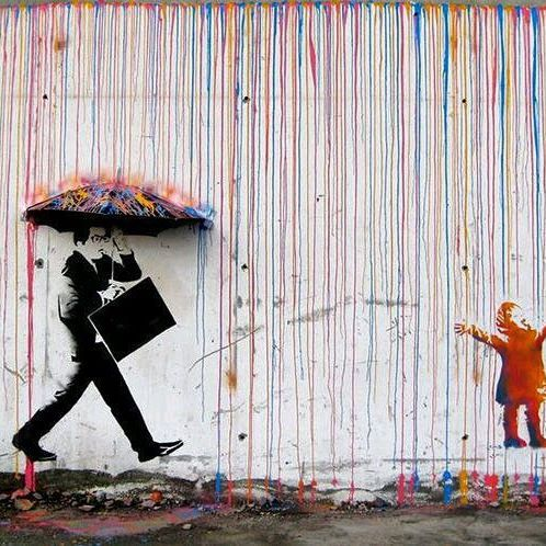 Hope you all are enjoying this rainy day! And if you're not, hopefully this will cheer you up! This is #CMYK by #Norway based artist, #Skurktur. #streetart #rainyday #stencilart #mixedmedia #graffiti #innerchild #traveltuesday