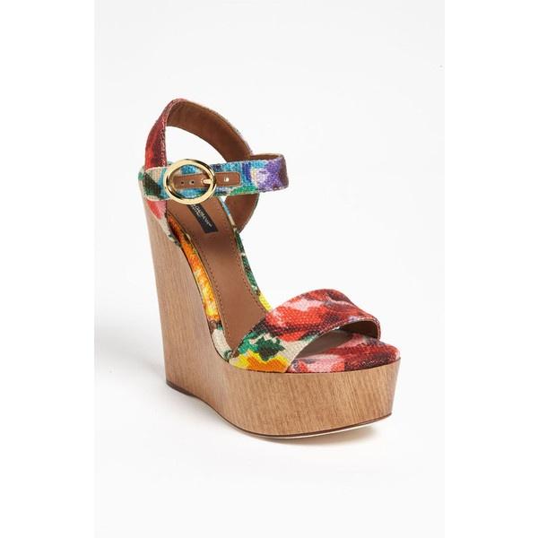 Dolce Floral Sandal ($895) ❤ liked on Polyvore