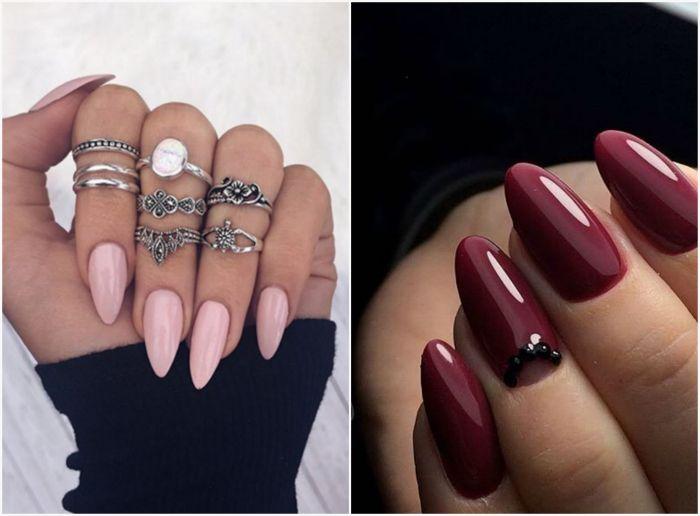 Ногти миндалевидной формы.