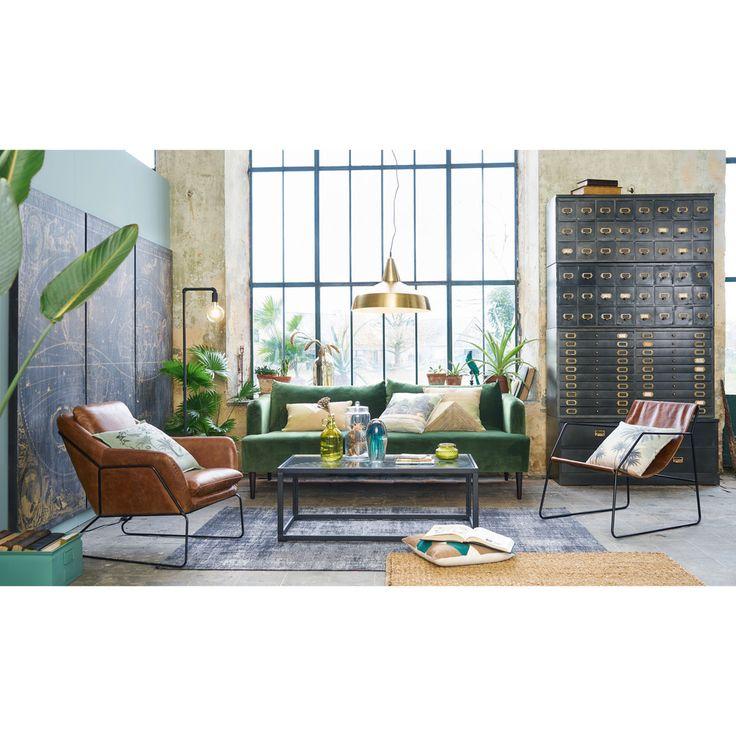 3-Sitzer-Sofa, grüner Samtbezug   Maisons du Monde