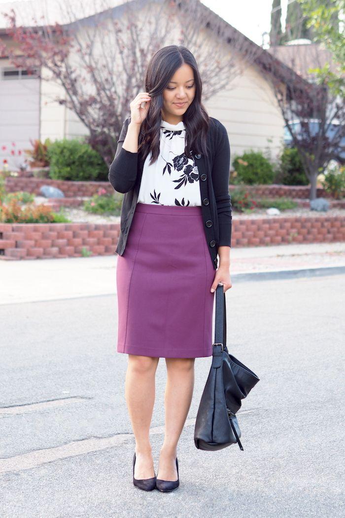 12 best Styling Purple skirt images on Pinterest   Overall dress ...