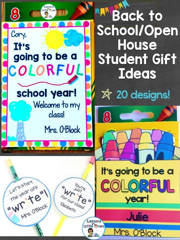 Ideas for back to school student gifts that are inexpensive, creative, and can be used the first day of school, for open house, or meet the teacher night. https://lessons4littleones.com/2016/07/19/back-to-school-open-house-meet-the-teacher-student-gift-tags/