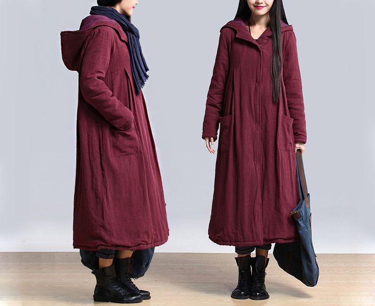 Vrouwen Bourgondië Sneeuw overjas bovenkleding 286 van MissJuan op DaWanda.com