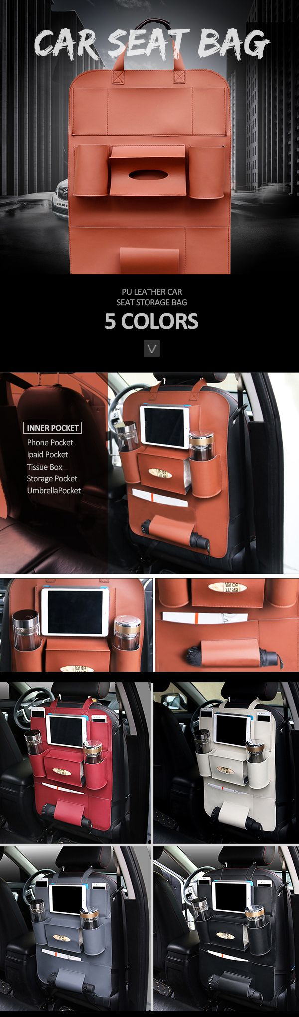 US$15.99 Pu Leather Car Seat Storage Bag_ 5 Colors Travel Solid Hang Bag