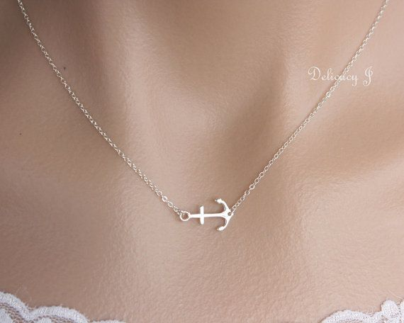 Silver anchor necklace Sterling Silver tiny anchor jewelry Navy life at sea, Simple everyday necklace, Wedding Birthday Christmas gift