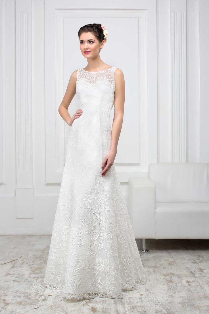 Krásne čipkované svadobné šaty v princesovom strihu