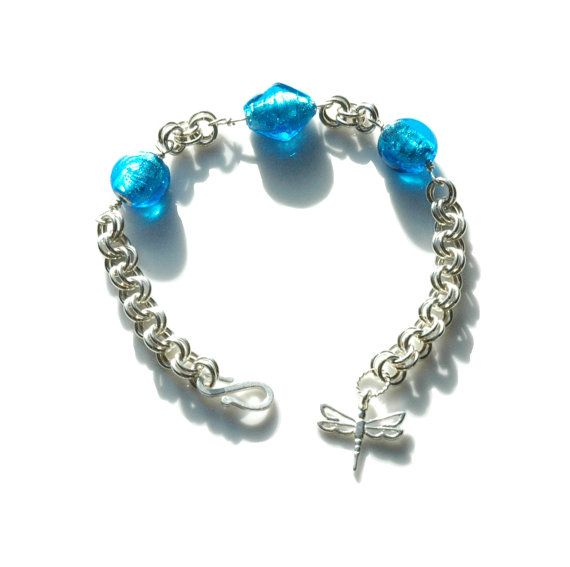 Sterling Silver 2in2 Chainmaille Bracelet with Blue Glass Beads by FionaKDesigns #handmade