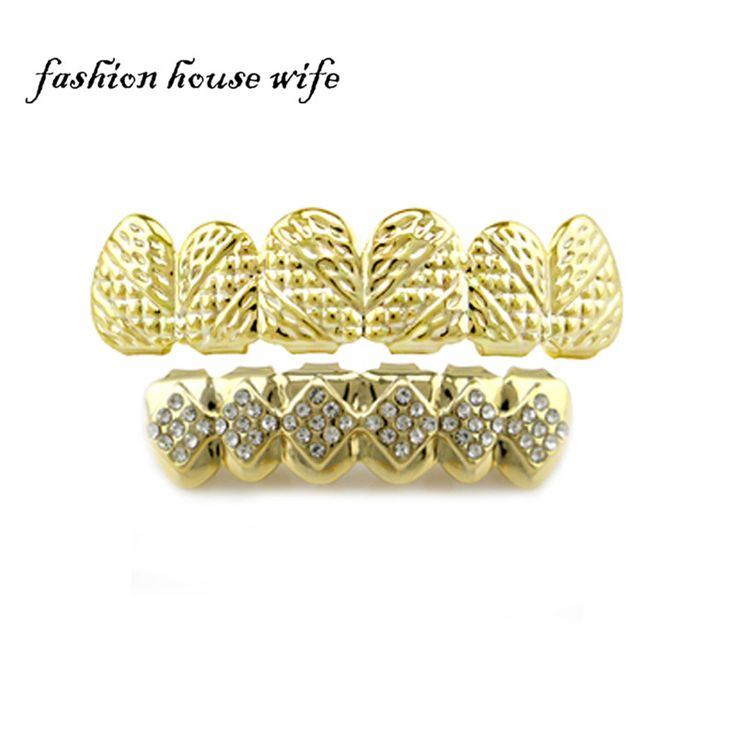 Hip Hop Gold Teeth Grillz Top & Bottom Tooth Grillz Shiny Bling Rhinestone Vampire Teeth Caps Jewelry Accessories NL0100