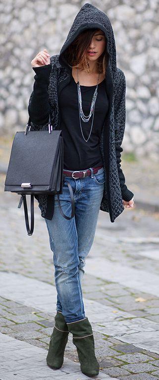 Les Babioles De Zoe Hooded Knit Cardigan Fall Street Style Inspo