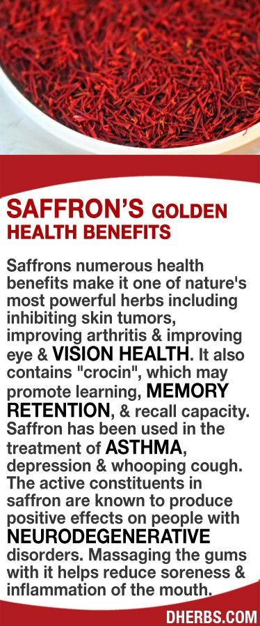 "http://www.medicinal-botanicals.com/ inhibiting skin tumors, improving arthritis & vision health. It also contains ""crocin"", which may promote learning, memory retention, & recall capacity. Saffron has been used for asthma, depression & whooping cough. The active constituents in saffron are known to produce positive effects on people with neurodegenerative disorders. Massaging the gums with it helps reduce soreness & inflammation h"