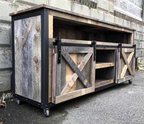 Rustic Industrial Barn Board Media Stand TV Stand w/ Sliding Barn Doors
