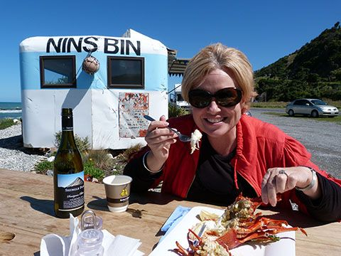 One of the things you MUST do on a South Island road trip is stop at Kaikoura to eat freshly caught crayfish on the side of the road!