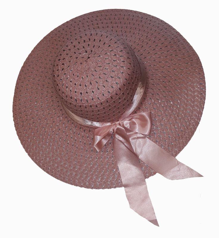 Roze hoed met lint en strik Met brede rand voor optimale bescherming tegen de zon € 19,95 GRATIS VERZENDING!! OP = OP!!