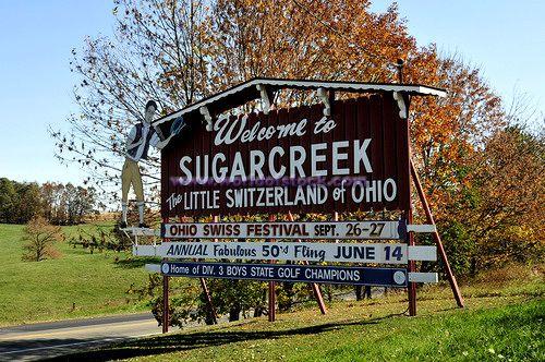 Ohio Counties with Amish | Welcome Sign Sugarcreek Ohio Holmes County Amish Community U.S. Stock ...