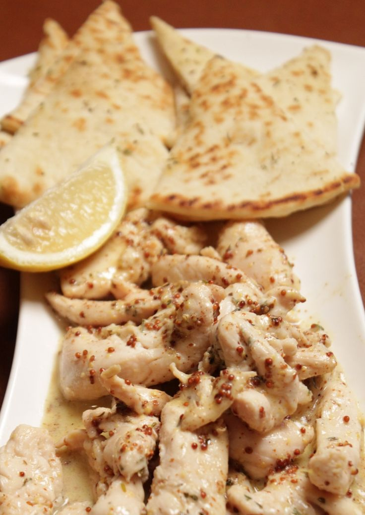 grilled pita and chicken cooked in a Dijon mustard sauce, you are going to love it!