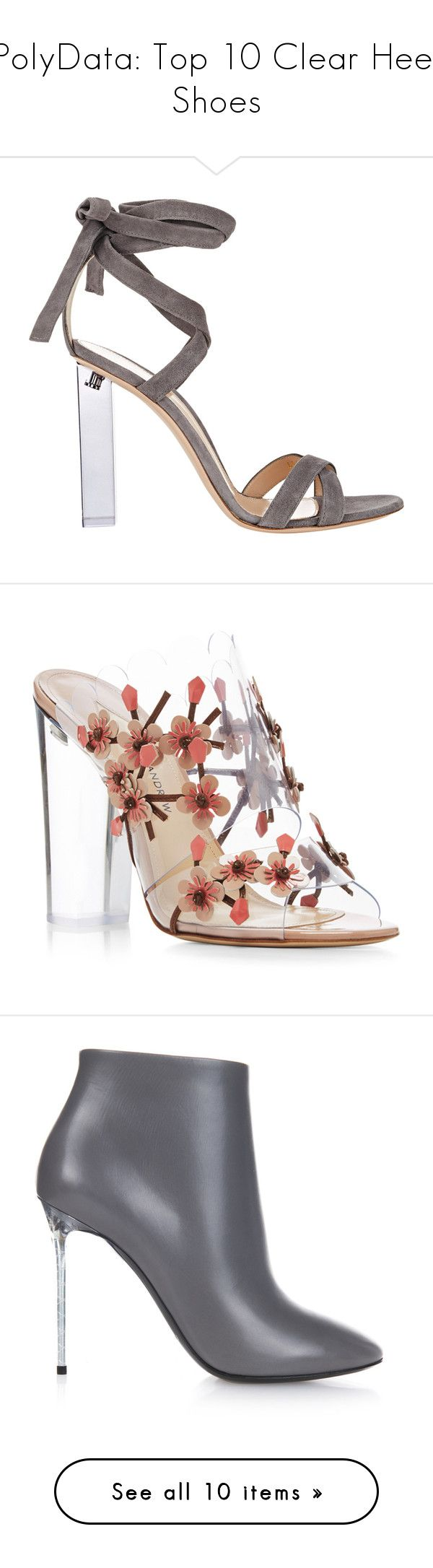 """PolyData: Top 10 Clear Heel Shoes"" by polyvore ❤ liked on Polyvore featuring clearheels, polydata, shoes, sandals, heels, chaussures, high heels, colorless, ankle tie sandals and grey shoes"