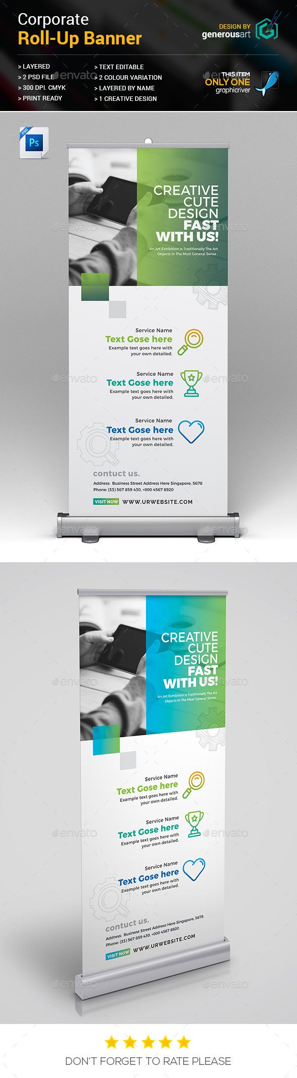 Corporate Creative Roll-Up Banner Ads Design Template - Signage RollUp Banner Design Template PSD. Download here: https://graphicriver.net/item/rollup-banner/18895769?ref=yinkira