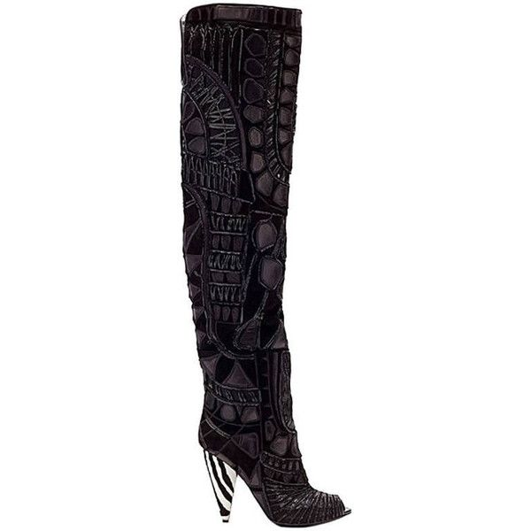 0975fe0c Preowned New Tom Ford Black Over The Knee Boots With Open Toe ...