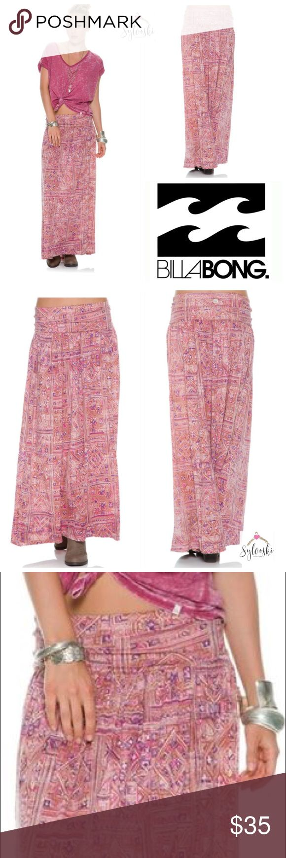 🆕BILLABONG HOW SINCERE MAXI SKIRT * Knit maxi skirt.  * Wide elastic waistband.  * Light pleating.  * Slight high low hemline.  * Allover print.  * 100% Viscose.  * Hand wash.  * Imported. Billabong Skirts Maxi
