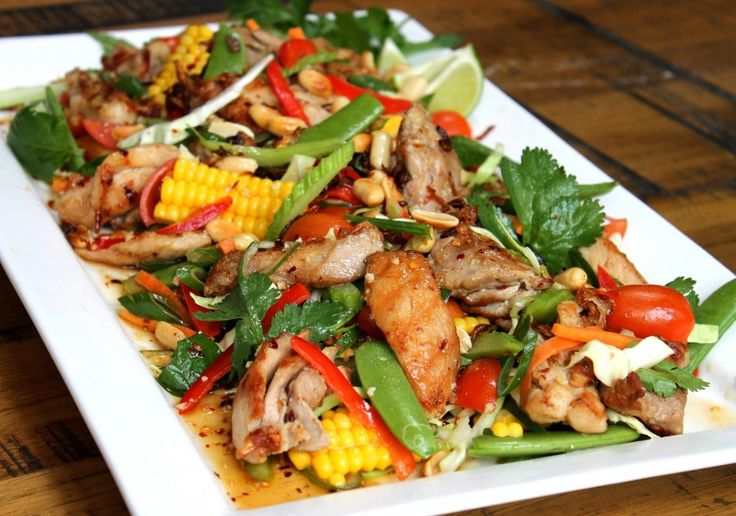 Thai infused grilled chicken salad thanks to Chelsea, 2012 Masterchef winner. Yumm it looks like Summer on a plate.