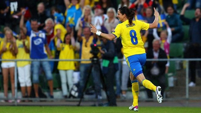 Lotta Schelin of Sweden celebrates after scoring their second goal during their UEFA Women's EURO 2013 Group A match against Italy