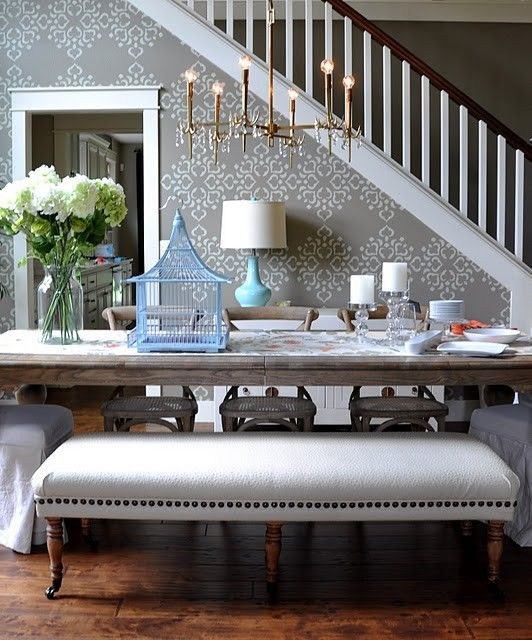 benchDining Rooms, Decor, Dining Area, Living Room, Diningroom, Dining Room Wall, Dining Room Design, Design Home, Dining Tables