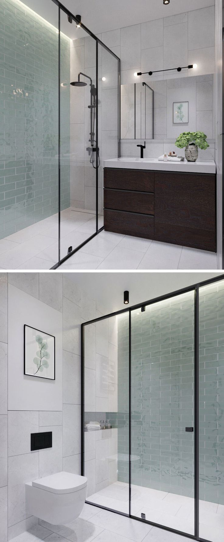 In this modern bathroom, floor-to-ceiling light green tiles add a soft touch of color to the otherwise black, white and wood interior. In the black framed glass enclosed shower, there's hidden lighting to add a calming glow to the bathroom.